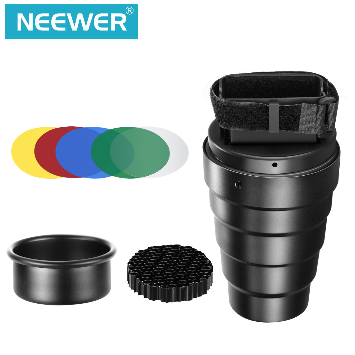 Neewer Aluminium Alloy Conical Snoot Kit with Honeycomb Grid and 5 Pieces Color Gel Filters for Canon Nikon TT560 NW561 NW562 NW565 NW620 NW630 NW680 NW670 750II NW910 NW880 Flash Speedlites by Neewer (Image #2)
