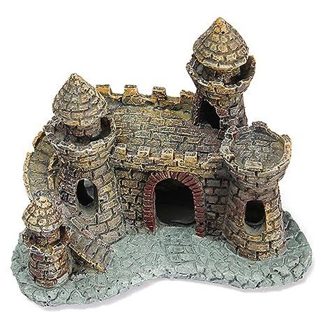 Castillo medieval de resina para peceras, acuarios, estanques de agua