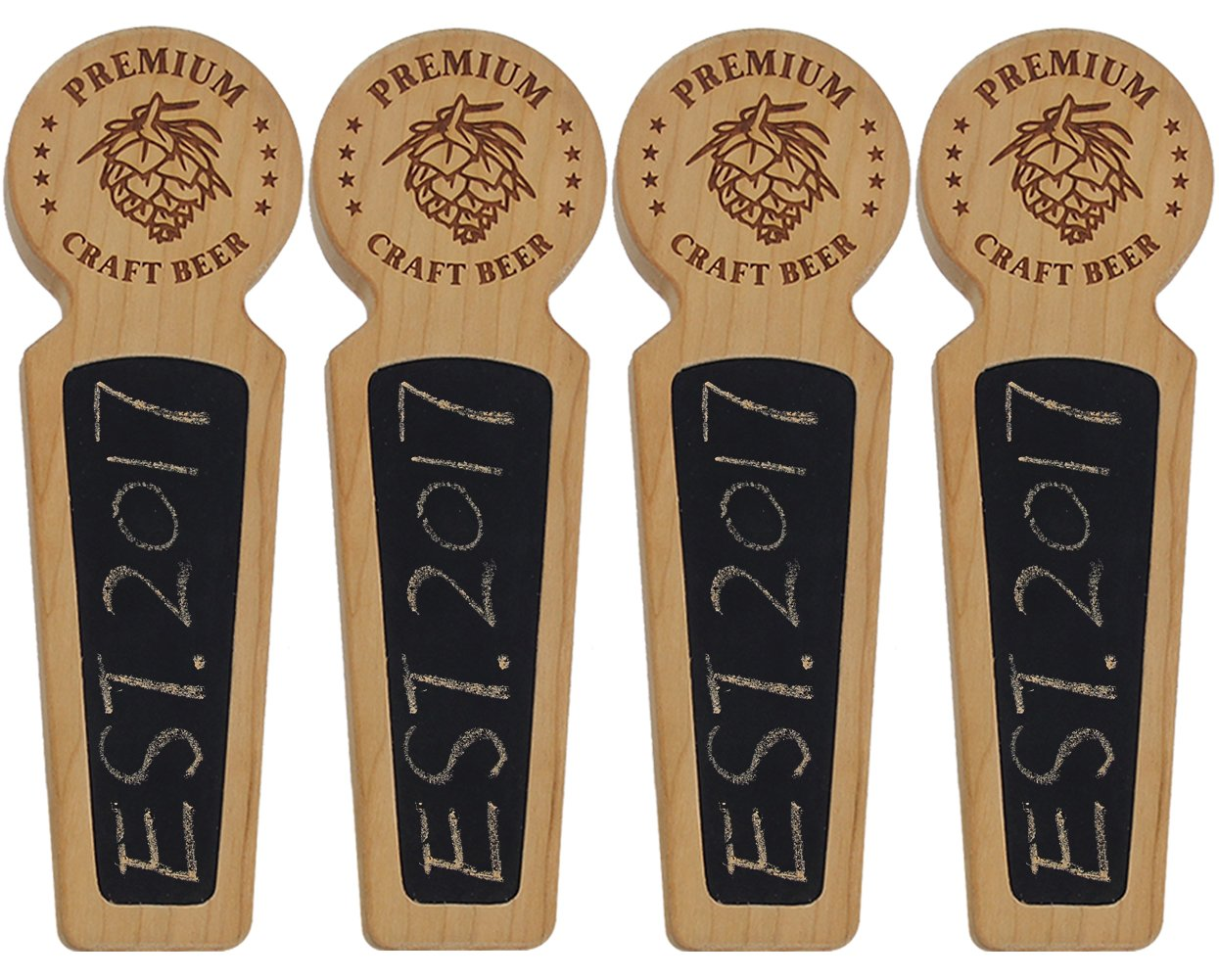 Awofer Set Of 4-40 Wood tap handle for kegerator, Chalkboard beer keg tap handle with laser engraved pine nuts logo, Premium Craft Beer, 8.3 INCH Long Cherry Wood, Craft beer gifts …