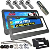 Aootf Anti Theft License Plate Frame-Tamper Proof Carbon Fiber Car Tag Holder, Heavy Duty Black Aluminum Cover for…