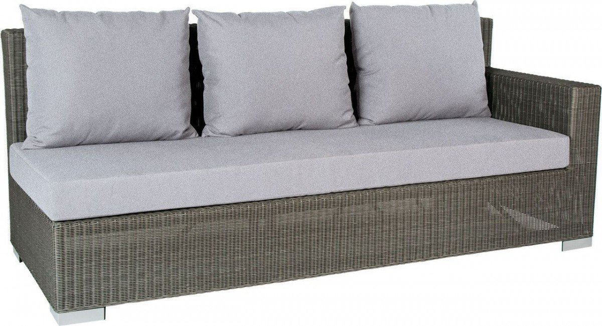 Dreams4Home Lounge Sofa 'Quincy I' - Sofa, Loungesofa, Balkonsofa, Gartensofa, Chaiselong, Terrassenmöbel, Loungemöbel, Cocktailmöbel, B/H/T: 207 x 88 x 87 cm, Gartenmöbel inklusive Kissen, Rattan, Aluminiumgestell, in grau