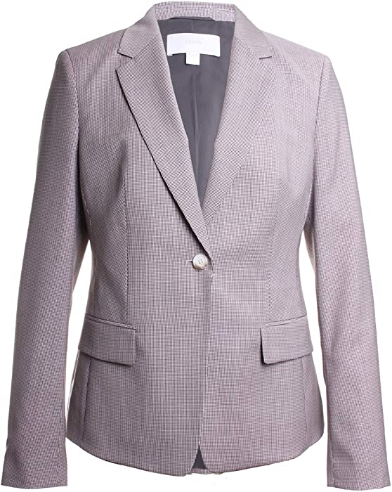 2b5667bbdc6 Amazon.com: Hugo Boss Jibalena Wool Houndstooth Blazer Jacket in Light  Vanilla Size 0: Clothing
