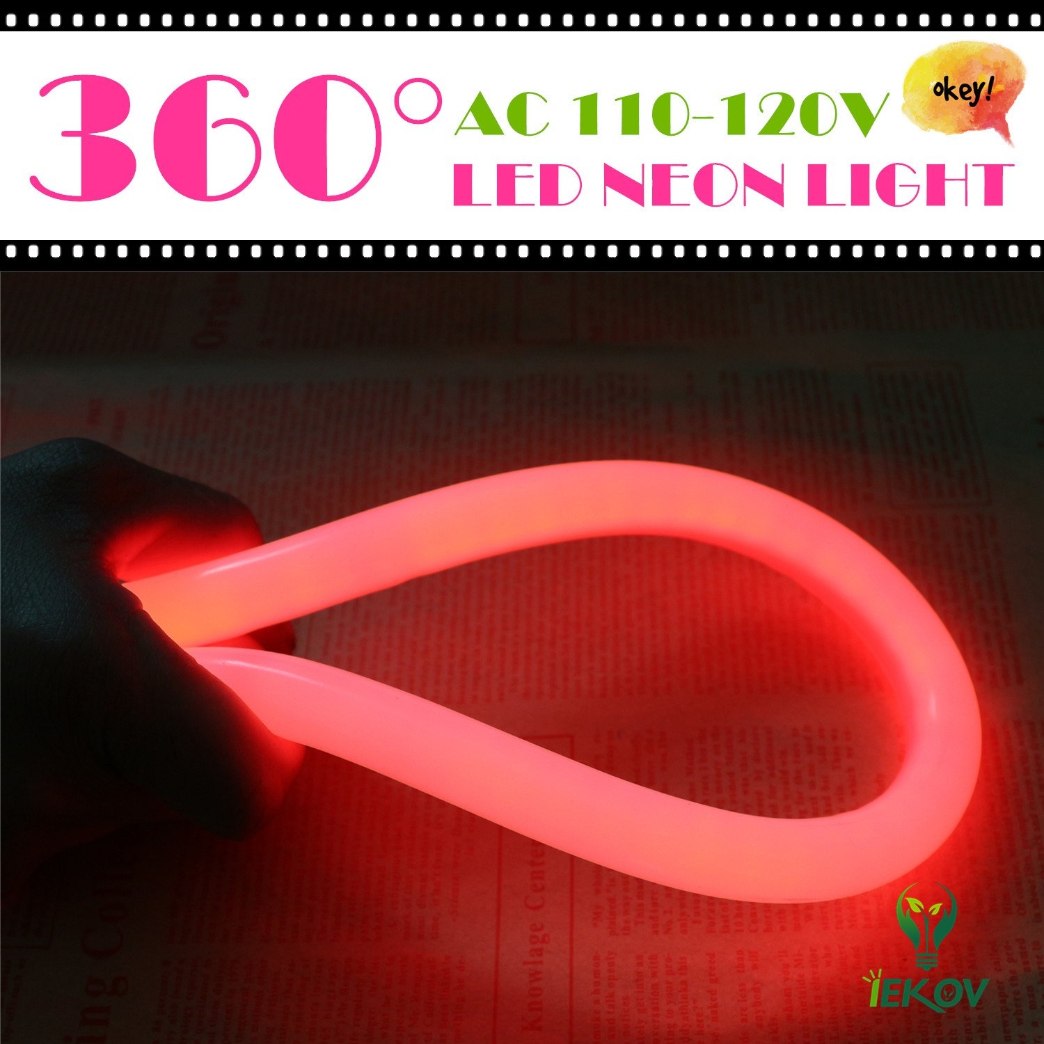 [Upgrade] 360° LED NEON Light, IEKOV™ AC 110-120V Flexible 360 Degree LED Neon Strip Lights, Dimmable & Waterproof NEON LED Rope Light + Remote Controller for Decoration (65.6ft/20m, Red) by IEKOV (Image #2)