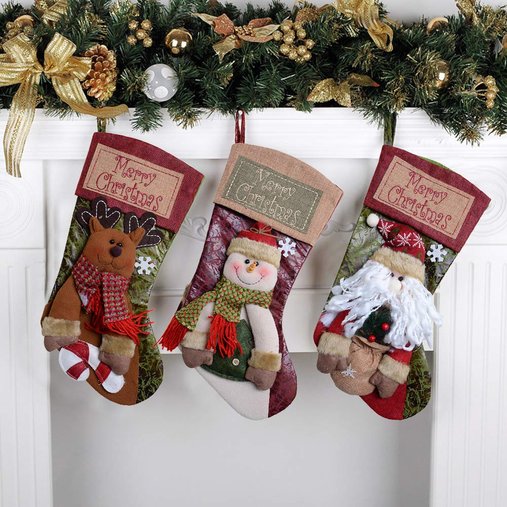 QBSM Classic Cute Deer Christmas Stockings Decorations Stocking Holders Gift Bag Xmas Character 3D Plush Linen Hanging Tag Set of 3 Santa, Snowman and Deer 19 inch