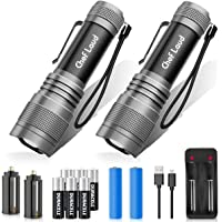2-Pack Morpilot Cheflaud LED Rechargeable Waterproof Flashlight