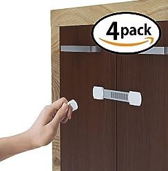 SicurezzaPrima® MagicStrap - magnetisches Schrankschloss als Kindersicherung für Schublade und Schranktür, Türriegel zur Baby-Schubladensicherung und Schranksicherung, 4er Pack