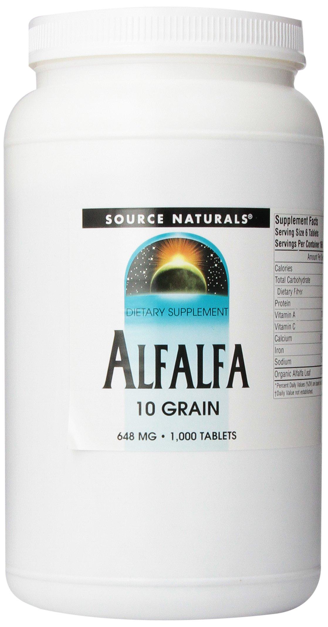 Source Naturals Alfalfa 10 Grain 648mg, 1000 Tablets
