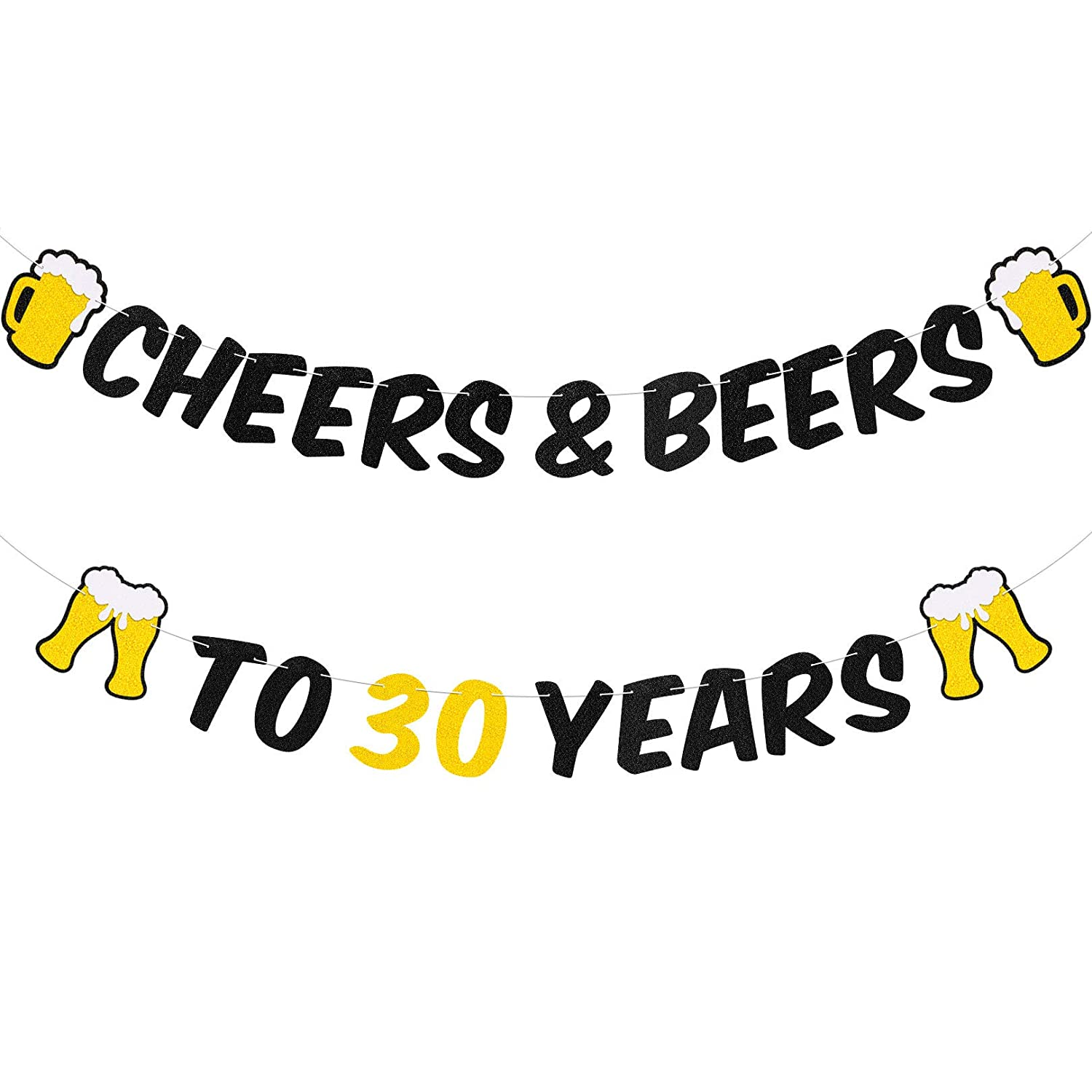 30th Birthday Decorations Cheers Black Glitter Banner for 30th Birthday 30 Years Wedding Anniversary Party Celebration Decoration Supplies Backdrop for Men Women Adults