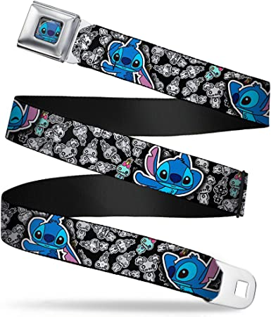 1.5 Wide Electric Stitch Poses Black//Neon Blue 24-38 Inches in Length Buckle-Down Seatbelt Belt