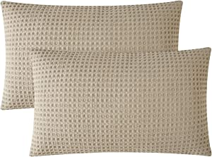 """PHF Cotton Waffle Lumbar Throw Pillow Covers, 12"""" x 20"""", Set of 2, Texture Rectangle Home Decorative Pillow Cases for Couch Sofa Bed, No Filling, Khaki"""