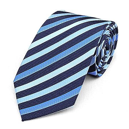 JINGJING Rayas de los Hombres Azul Corbata Apretada Ocio de ...