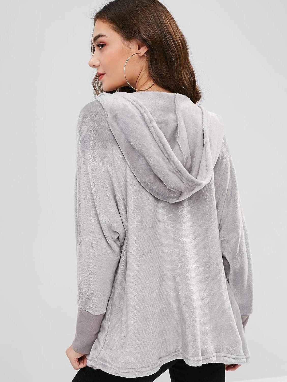 ZAFUL Womens Lapel Long Sleeve Faux Shearling Coat Winter Boyfriend Winter Faux Coat
