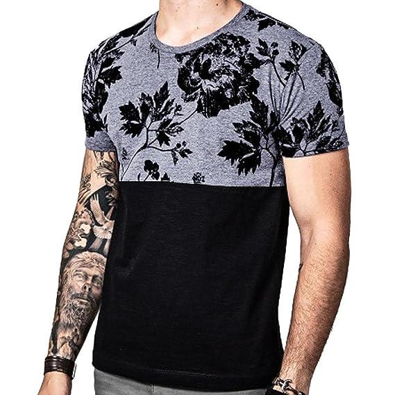 ALIKEEY Camiseta Casual De Manga Corta con Cuello En V Floral Verano para Hombre Blusa Superior