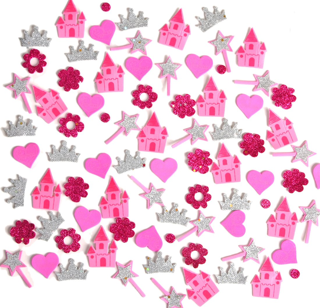 LightShine Products 217 Piece Bulk Princess Theme Assortment Bundle of Peel /& Stick Foam Glitter Stickers Mixed