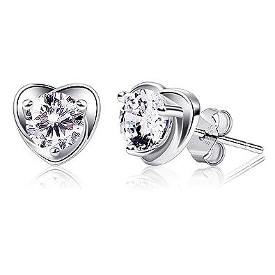 b8cad771e B.Catcher Earring Studs Heart Shape 925 Sterling Silver Cubic Zirconia Heart  Stud Earrings: Amazon.ca: Jewelry