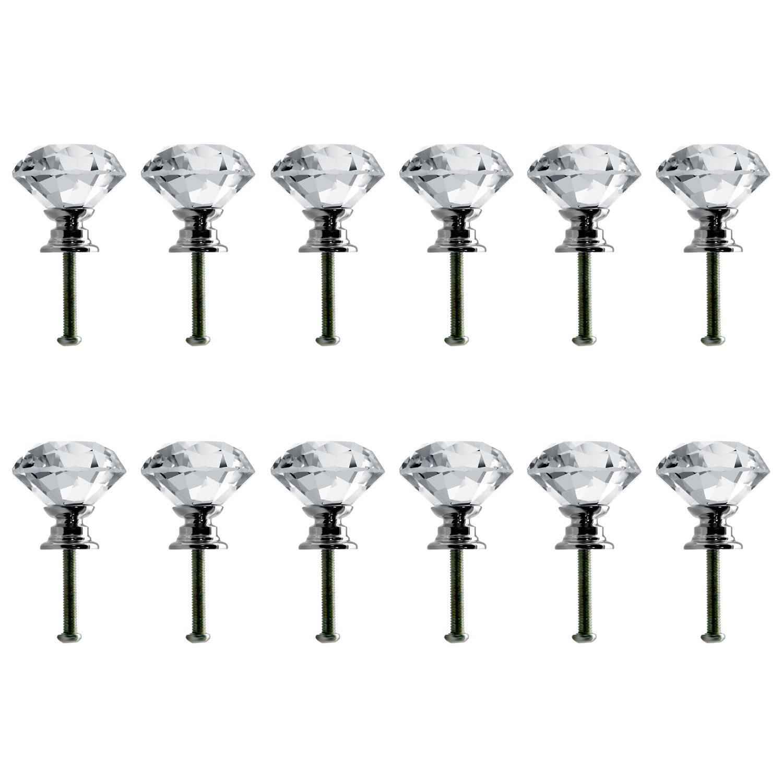Neewer® 30mm Pomelli in Cristallo a Forma di Diamante per Maniglie, Stipi, Armadietti, Cassetti, e Decorazioni (12pomelli) 99086885