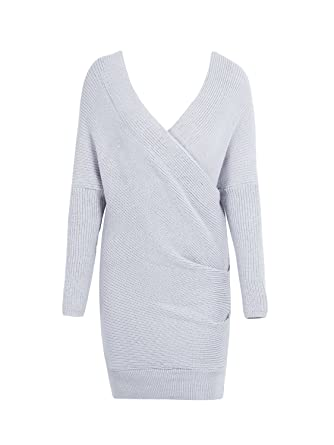 2f730ca507 Glamaker Women s Long Sleeves Pullover Knit Dress V Neck Loose Knitted  Sweater Dress Gray