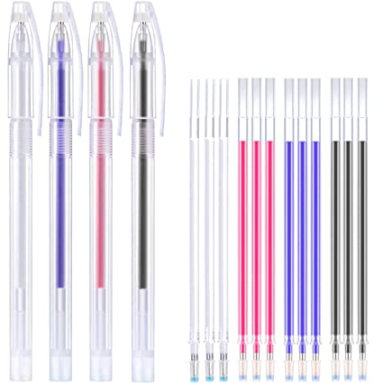 Off-White, Red, Blue, White, Black, Rose Red Refills 12 Pieces Heat Erase Pen Fabric Marking Pen Heat Erasable Fabric Marking Pen with 60 Pieces Refills for Crafts Quilting Sewing DIY Dressmaking