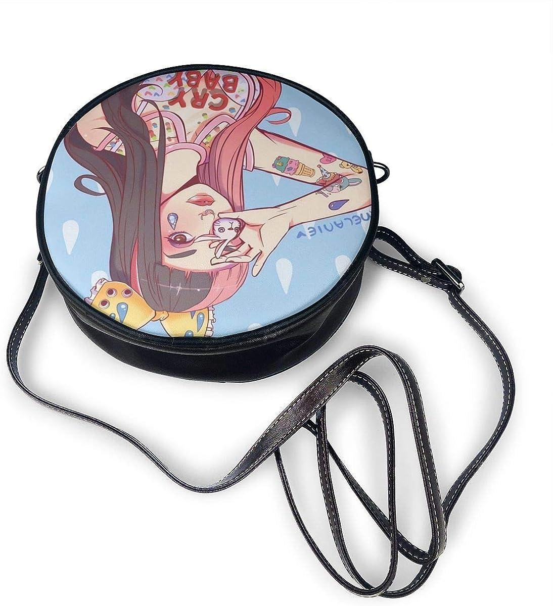 7.1x7.1x2.36 inch Melanie Martinez Unique Fashion Leather Round Shoulder Bag Size