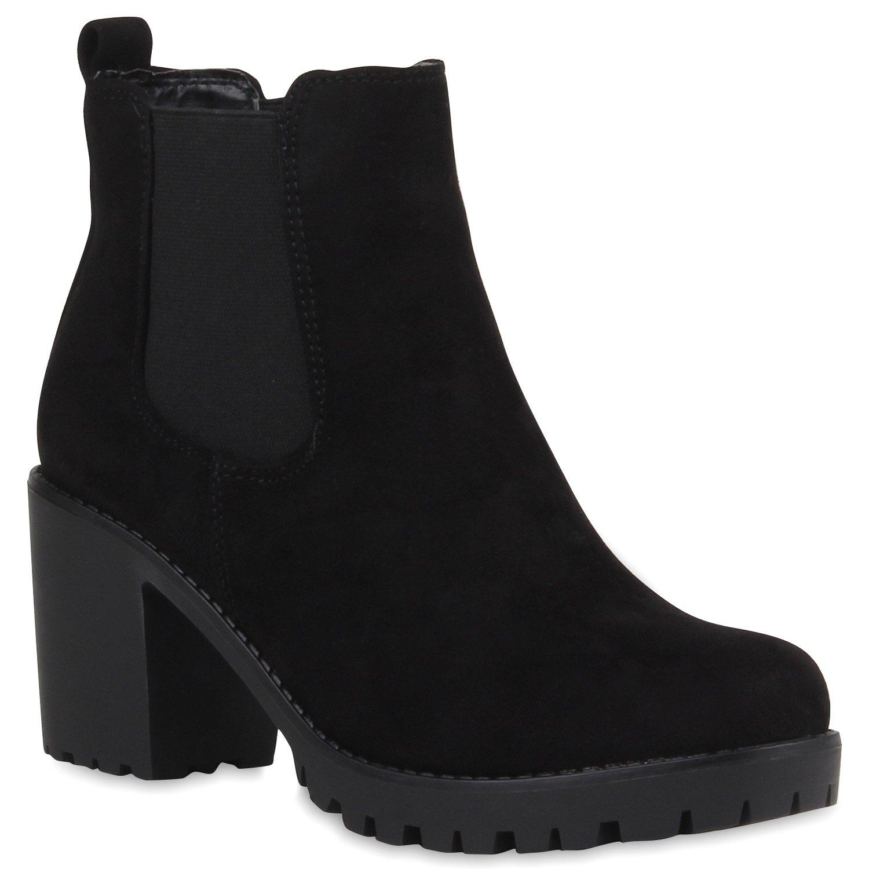 Reissverschluss Blockabsatz Chelsea Boots Stiefeletten Synthetik Wildleder Gr 36 9jaSS0opD