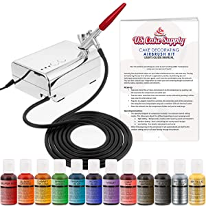 U.S. Cake Supply - Complete Cake Decorating Airbrush Kit with a Full Selection of 12 Vivid Airbrush Food Colors - Decorate Cakes, Cupcakes, Cookies & Desserts
