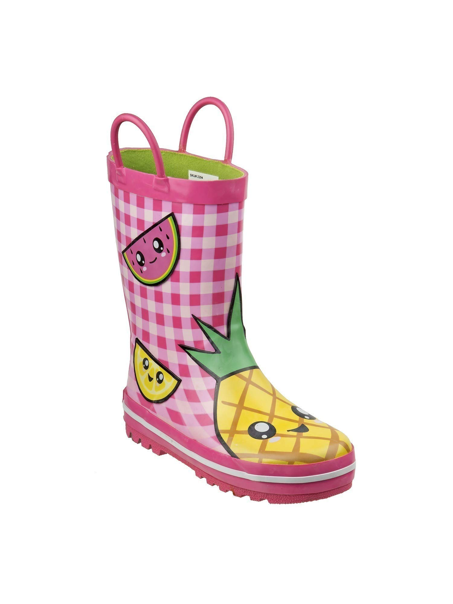 Laura Ashley Girls Pink Checker Fruit Print Casual Rain Boots 12 Kids