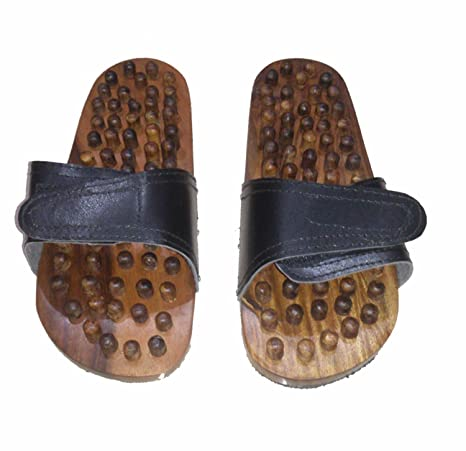 876d1e5b5f0 Image Unavailable. Image not available for. Colour  khan handicraft SK  Handicrafts Wooden Foot Massage Lite Weight Acupressure Acupuncture Slipper  ...