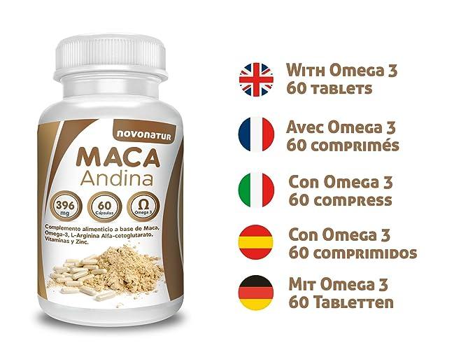 Maca andina negra con Omega 3, L-Arginina Alfa-cetoglutarato, Vitaminas y Zinc. Única Maca con Omega 3 del mercado. NOVONATUR.: Amazon.es: Salud y cuidado ...