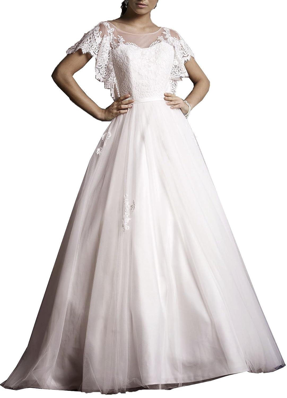 Onlybridal Womens Designer Bridal Dresses Tulle Short Sleeve