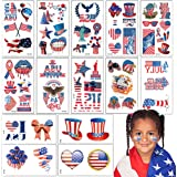 80 PCS 4th of July Patriotic Temporary Tattoos. 20 Sheets USA Tattoos for Independence Day Party Supplies, Memorial Day Party