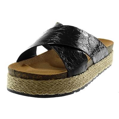 Angkorly Chaussure Mode Mule Sandale Slip-on Plateforme Effet Vieilli Femme Lanières Croisées Effet Craquelé Corde Talon compensé Plateforme 4 CM - Noir - H50 T 37
