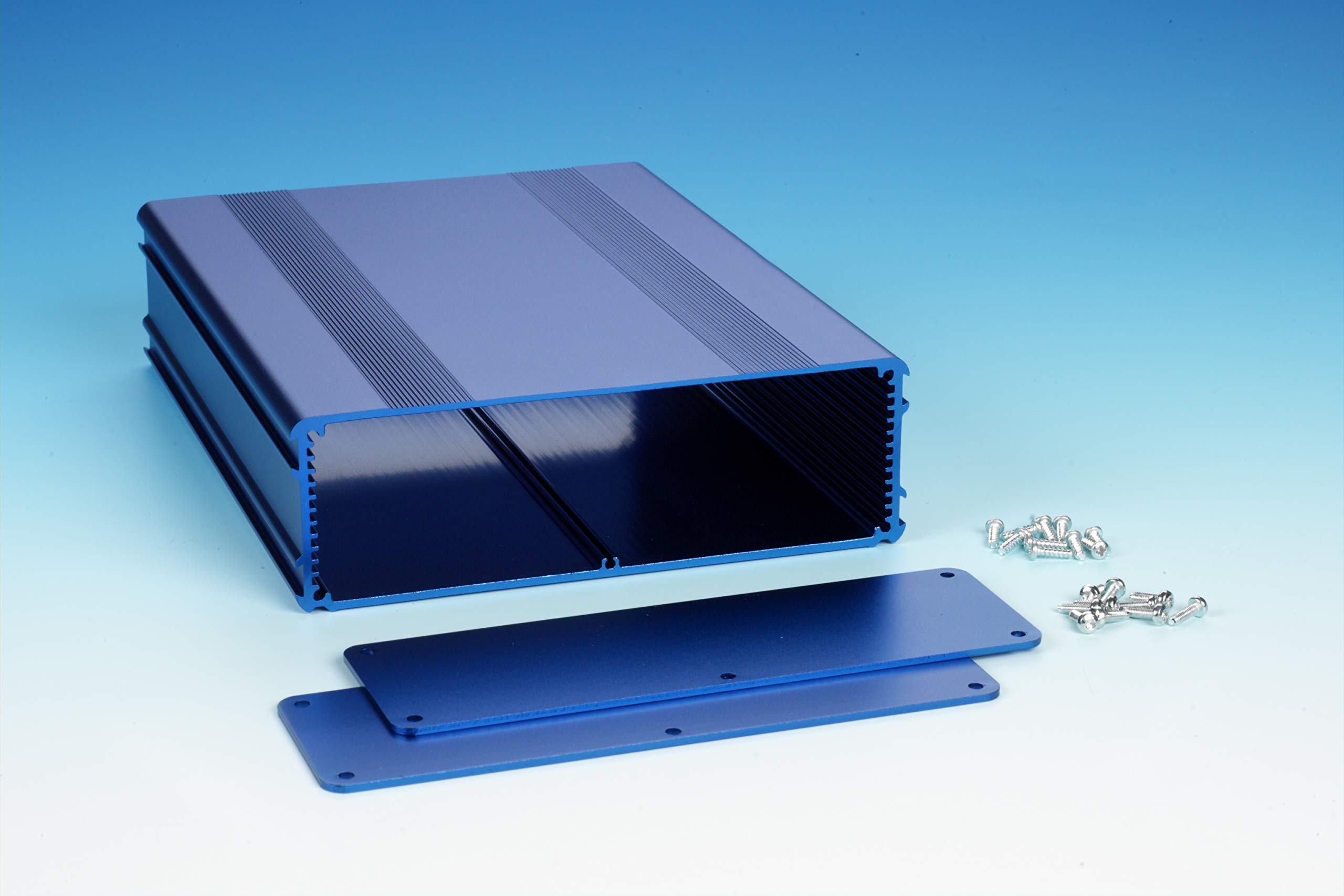 B4-220BL: Blue Anodized, Extruded Aluminum Electronic Enclosure Project Box Electronic DIY Case, size 8.66''x6.68''x2.11'' / 220 x 169.8 x 53.5mm (LWH)