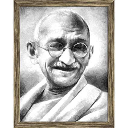 Pitaara Box The Father of The Nation India, Mahatma Gandhi Canvas Painting  Antique Golden Frame 18 X 23 2Inch