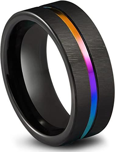 FREE SHIPPING Custom Engraved Black Tungsten Band Beveled Edge Vertically Brushed Finish Center Rainbow Groove Black Tungsten Wedding Ring