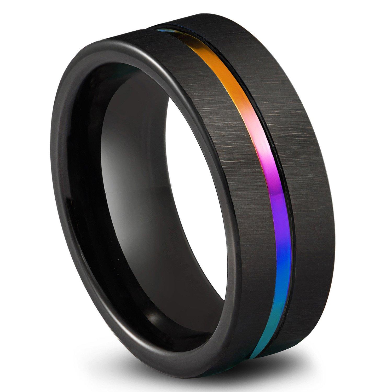 Queenwish Wolfram Ring, 8mm Nero Anelli Arcobaleno scanalato Comfort Fit Matrimonio Anelli, Anello di Fidanzamento per Uomo e Donna Taglia 6–14 QWTURA-8423000