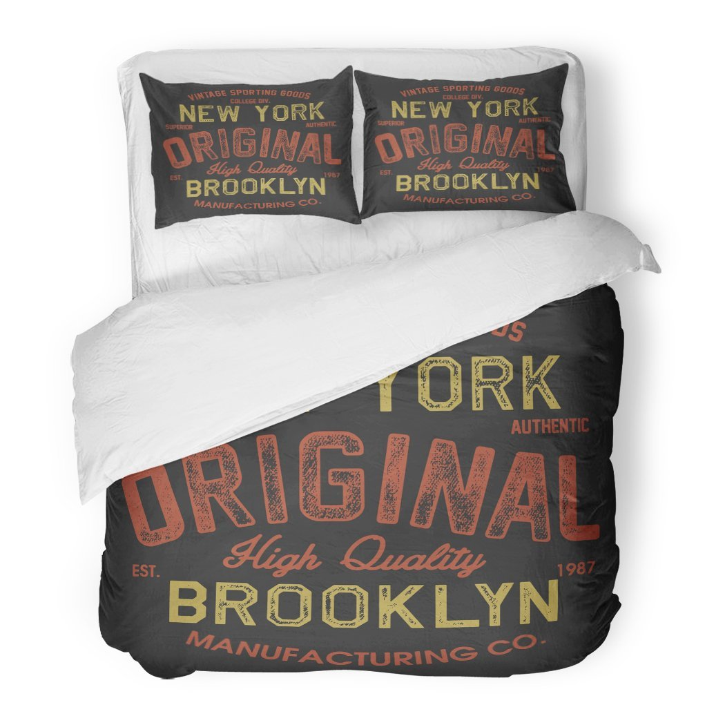 SanChic Duvet Cover Set Label Vintage College Original New York Brooklyn Sport Apparels Varsity Tee Graphic Athletic Decorative Bedding Set 2 Pillow Shams King Size