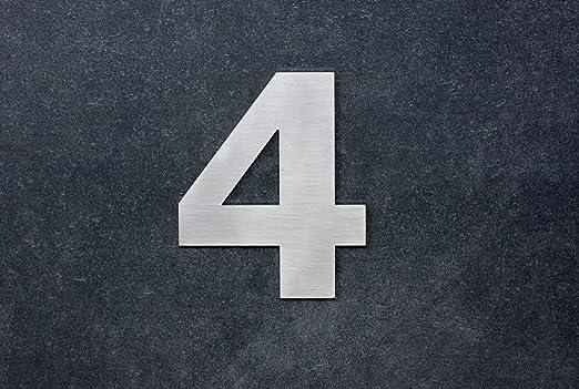 Numero 4, adhesivo,120mm, acero inoxidable AISI 316, casa, portal y exterior