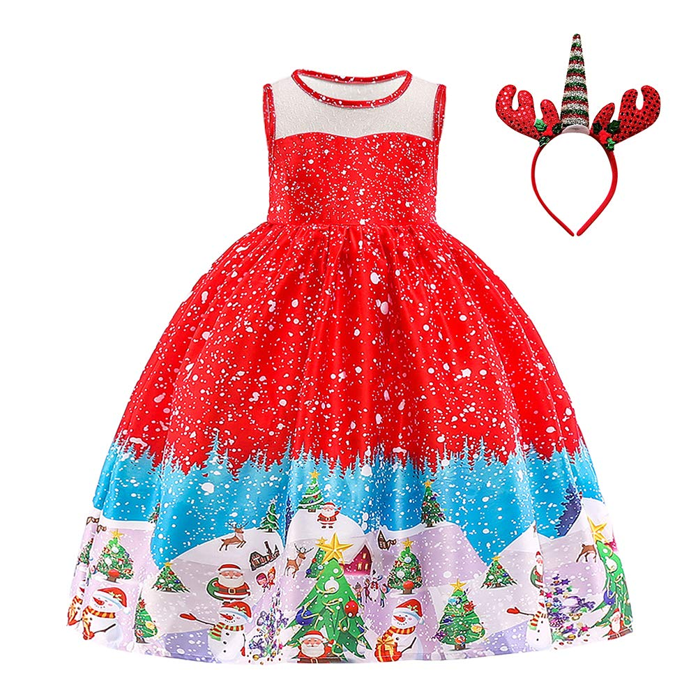 OBEEII Little Big Girl Christmas Holiday Dress Santa Claus Snowman Reindeer Xmas Gift