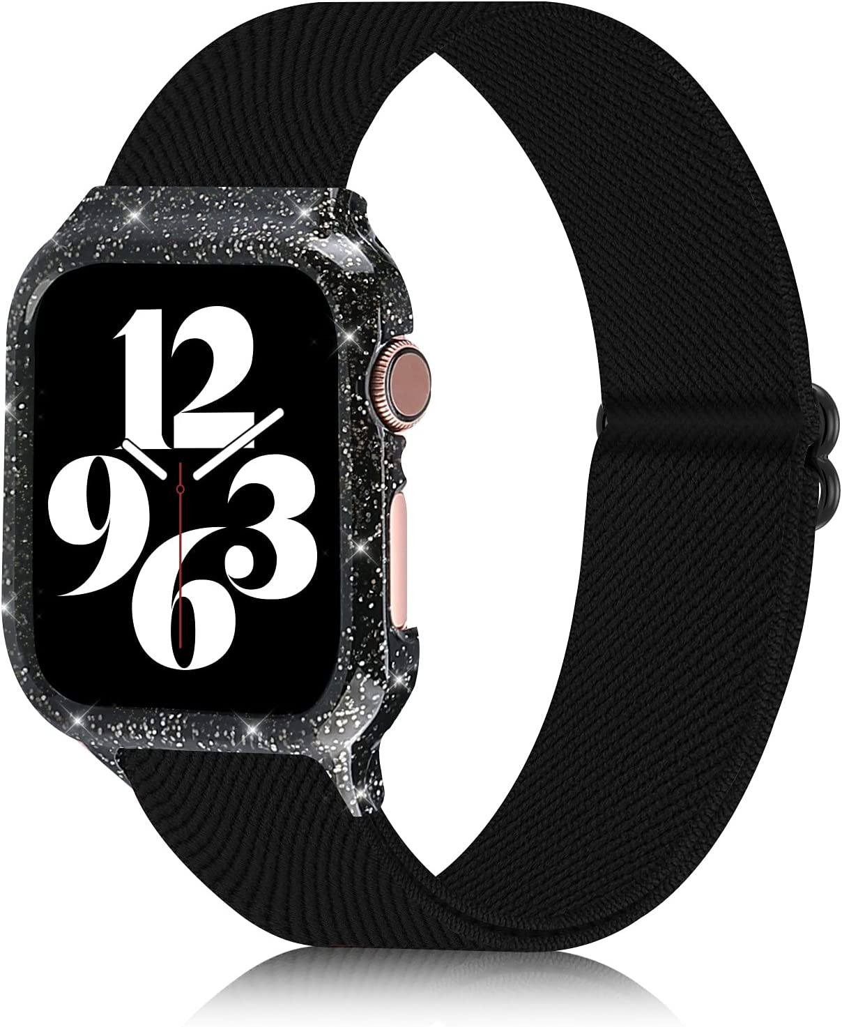 Bagoplus Compatible with Apple Watch Bands 38mm 40mm 42mm 44mm with Protective Case, Nylon Solo Loop Adjustable Stretch Sport Elastics iWatch Bands Women Men Compatible with iWatch Series SE/6/5/4