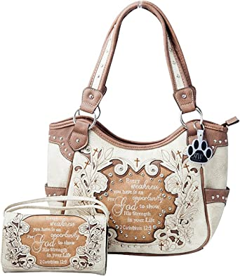 Western Purse Concealed Carry Cross Bible Scripture Verse Handbag and Wallet Set
