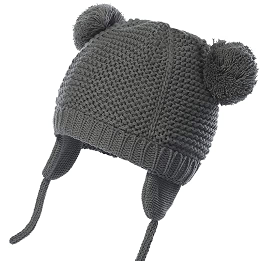 9dcaed1a90f WELROG Baby Toddler Warm Beanie Hat Winter Earflap Knit Cap with Hair Ball ( Grey)