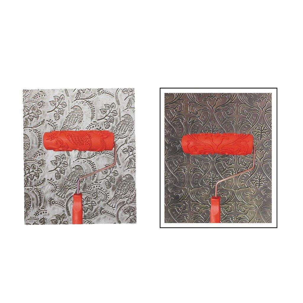 2 Unids Rodillo de Pintura con Mango Decoraciones de Pared de Pl/ástico en Relieve 7#