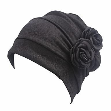Smakke Women Large Flower Model Headscarf Chemotherapy Cap Western Style  Ruffle Cancer Chemo Hat Beanie Scarf 7cc3e2d0019d