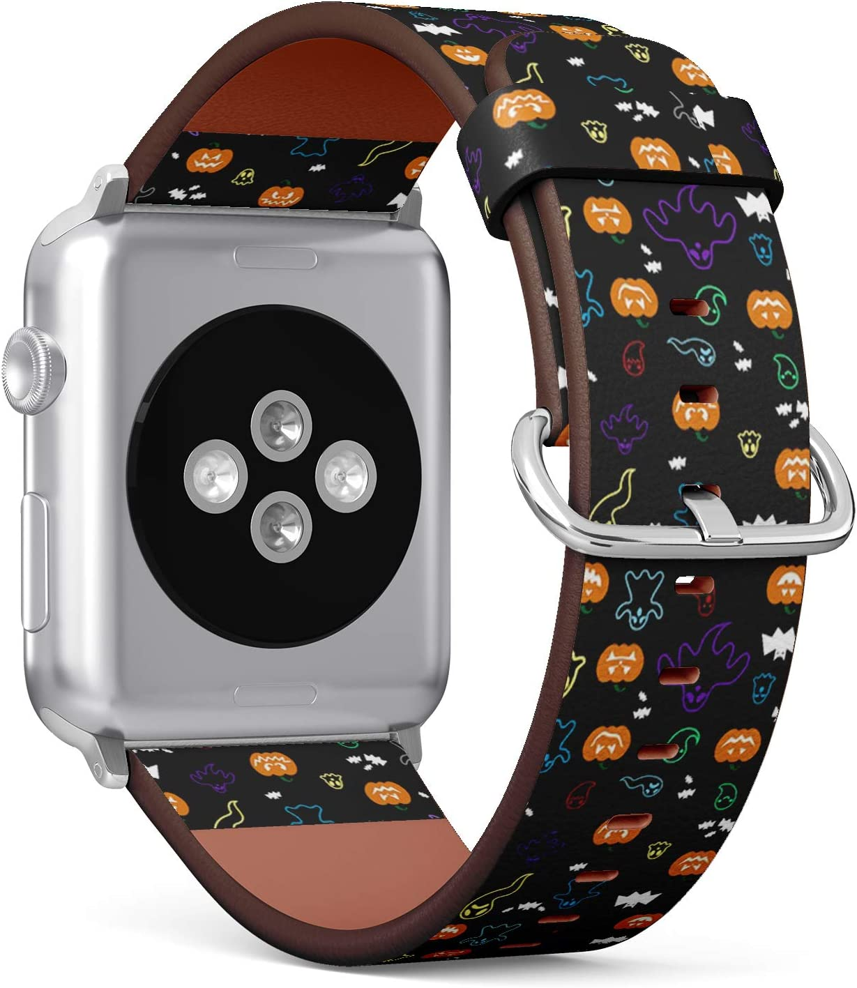 Compatible with Small Apple Watch 38mm & 40mm - (Series 5, 4, 3, 2, 1) Leather Watch Wrist Band Strap Bracelet with Stainless Steel Clasp and Adapters (Halloween Ghost Bats Pumpkins)