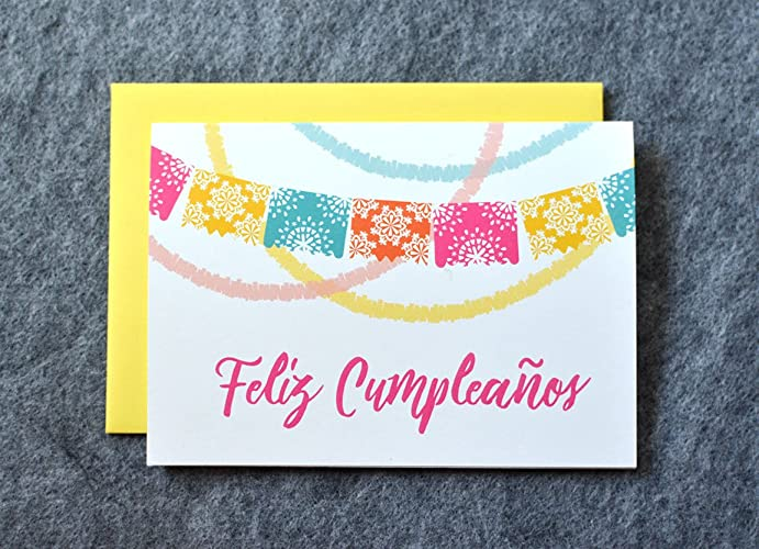 Amazon.com: Feliz Cumpleaños Fiesta Birthday Card: Handmade
