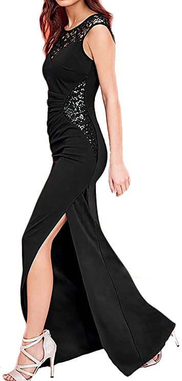 Amazon.com: made2envy Lace Sequin Daring High Slit Maxi Gown (S, Black) R80204SBLACK: Clothing
