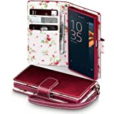 Sony Xperia X Compact Cover, Terrapin Handy Leder Brieftasche Case Hülle mit Kartenfächer für Sony Xperia X Compact Hülle Rot mit Blumen Interior