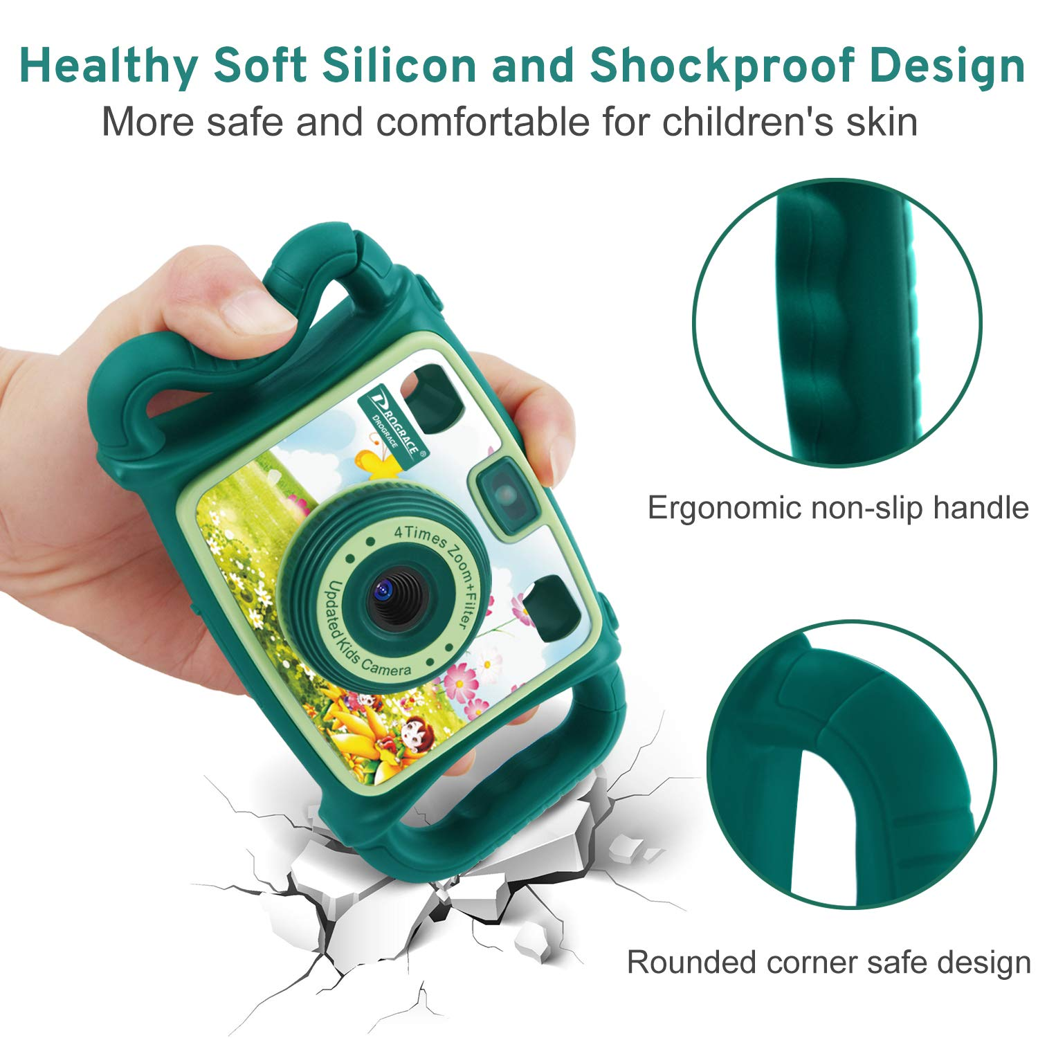 Prograce Kids Camera Dual Selfie Camera 1080P HD Video Recorder Digital Action Camera Camcorder for Boys Girls Gifts 2.0'' LCD Screen with 4X Digital Zoom and Funny Game(Green) by Prograce (Image #5)
