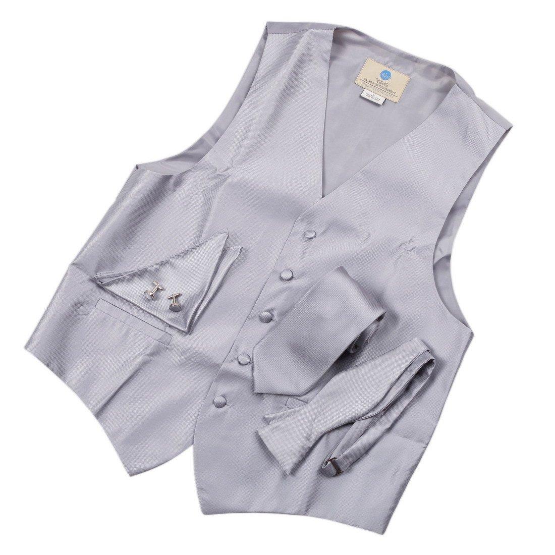 YGA1C01 Pretty Plaid Mens Vest Tie Cufflinks Hanky Bowtie Great Goods By Y& G