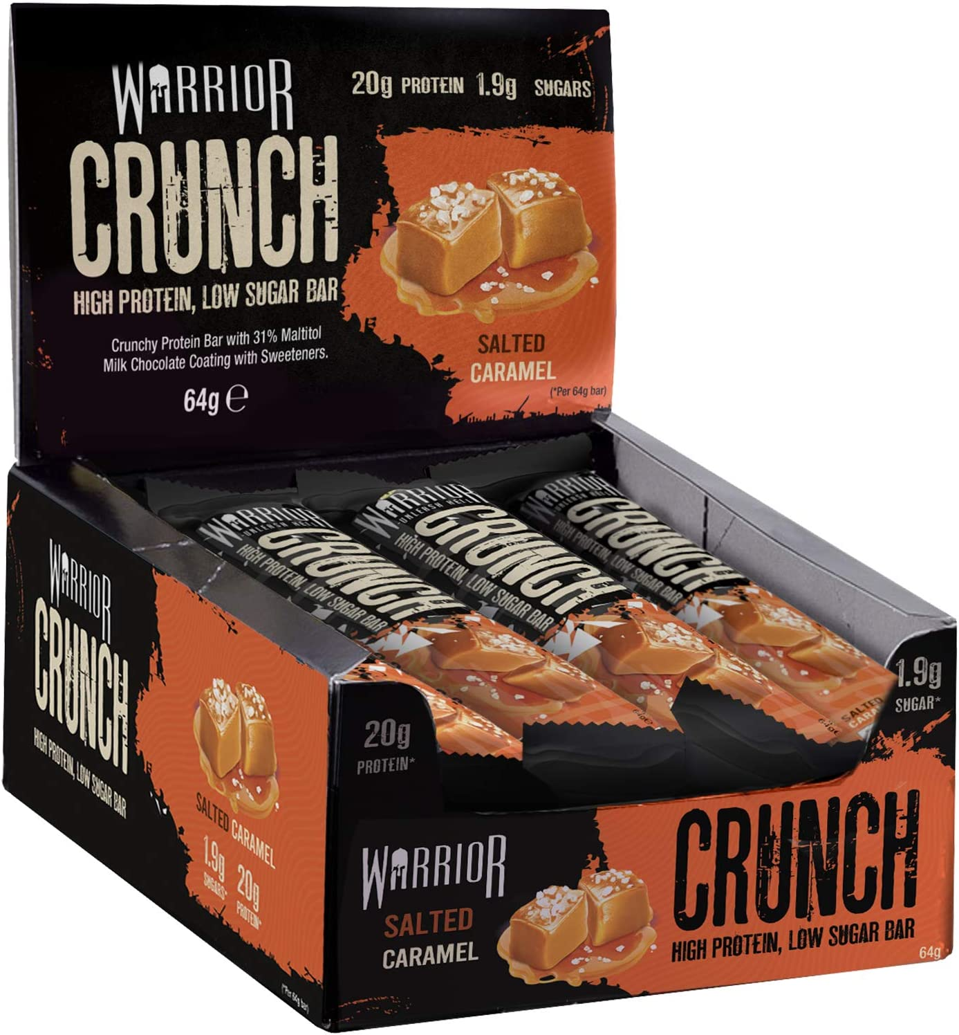 Warrior Crunch High Protein Low Carb g depot Caramel Limited price sale 64 Salted Bar